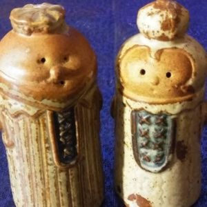 Two Cute  Pottery Salt and Pepper Shakers